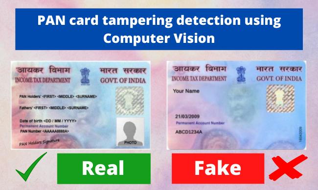 PAN card fraud detection using computer vision.